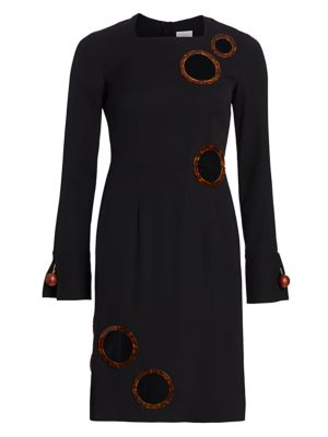 Silk-Blend Cutout Sheath Dress
