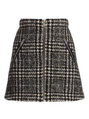 Tweed Zip-Up Mini Skirt