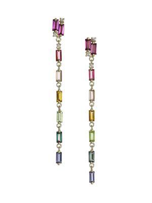 14K Yellow Gold & Multi-Stone Drop Earrings