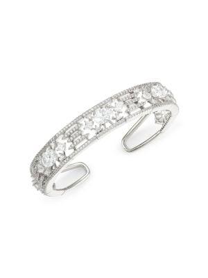 Rhodium-Plated Sterling Silver Cubic Zirconia Flex Cuff Bracelet