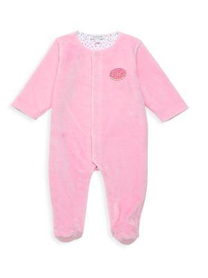 Baby Girl's Donuts Velour Reversible Footie
