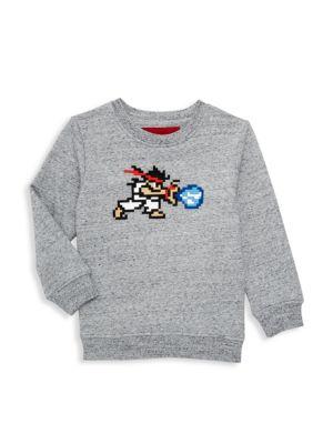 Little Boy's & Boy's Specked Warrior Embroidery Sweatshirt