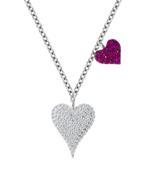 14K White Gold Diamond & Ruby Double Heart Pendant Necklace
