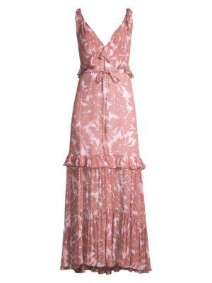 Misha Ruffle Daisy Print Maxi Dress