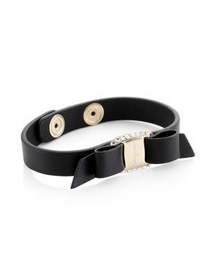 Varaster Crystal Bow Leather Bracelet