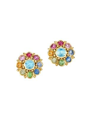 Celestial 18K Yellow Gold & Multi-Stone Stella Cluster Earrings