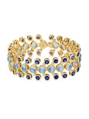 Celestial 18K Yellow Gold, Diamond, Moonstone & Sapphire Galaxy Link Bracelet