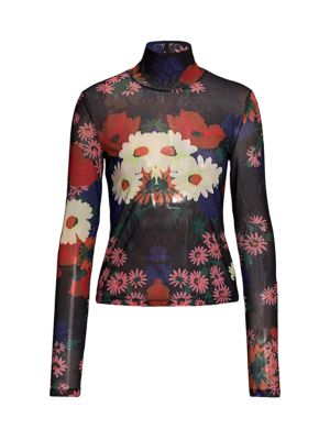 Helvin Floral Mesh Turtleneck Top