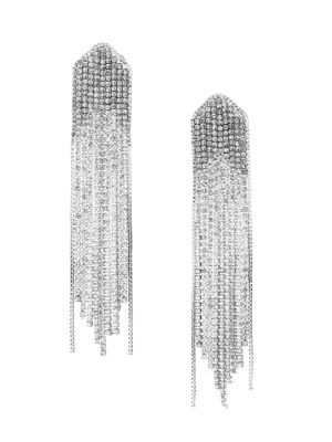Rhodium-Plated Cubic Zirconia Waterfall Drop Earrings