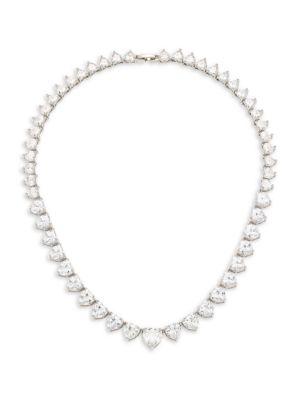 Monarch Heart Solitaire Cubic Zirconia Collar Necklace