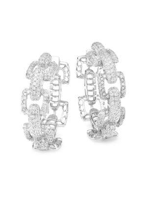 Rhodium Plated Cubic Zirconia Link Hoop Earrings