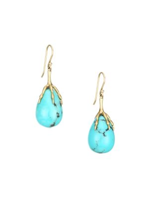 14K Yellow Gold & Turquoise Sleeping Beauty Quail Egg Drop Earrings