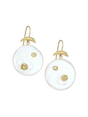 18K Yellow Gold, Mother-Of-Pearl & Diamond Drop Earrings