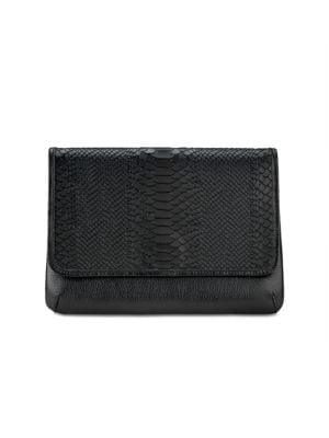 Elisa Python-Embossed Leather Clutch