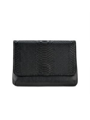 Elisa Python-Embossed Leather Clutch