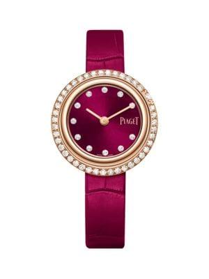 Possession 18K Rose Gold & Diamond Pink Alligator Strap Watch