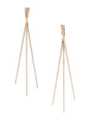 Blast 18K Rose Gold & Diamond Pavé Linear Earrings
