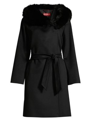 Fox Fur Trimmed Hooded Coat