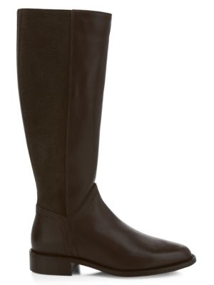 Nia Knee-High Stretch-Suede & Leather Boots