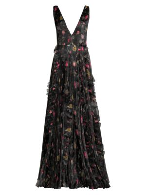 Nicole Ruffled Floral Gown