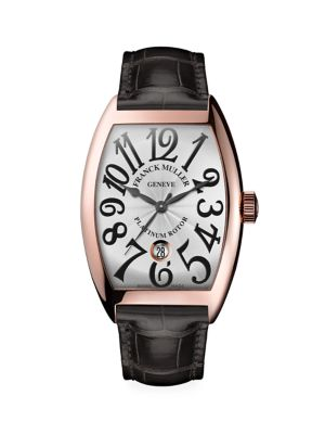 Cintrée Curvex Rose Gold & Alligator Strap Watch