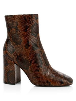 Jade Python-Embossed Leather Ankle Boots