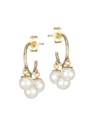 14K Yellow Gold & 4MM White Cultured Freshwater Pearl Hoop Earrings