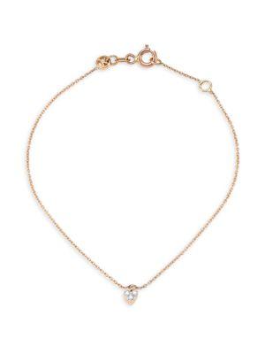 14K Rose Gold Diamond Heart Anklet
