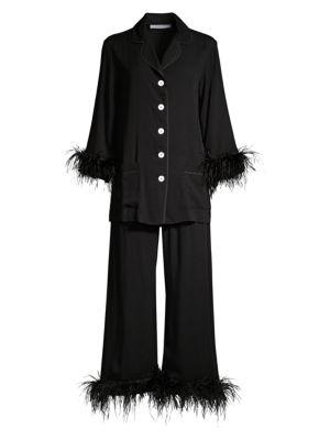 2-Piece Black Tie Feather Trim Pajama Set