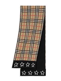 버버리 키즈 빈티지 체크 메리노울 스카프 Burberry Vintage Check Stars Merino Wool Scarf,Archive Beige