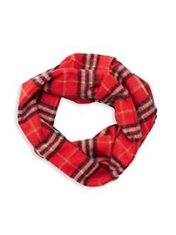 버버리 빈티지 체크 캐시미어 스누드 넥워머 - 레드 Burberry Vintage Check Cashmere Scarf,Bright Red
