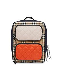 버버리 레미 체크 믹스 백팩 - 핑크 오렌지 레드 Burberry Remi Check Mix Backpack,Ice Pink Orange Red