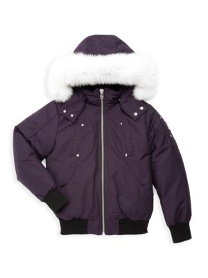 Little Girl's & Girl's Fox Fur-Trim Down Bomber