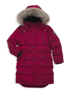 Little Kid's & Kid's Fox Fur-Trim Down Parka