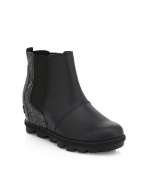 Girl's Waterproof Coated Leather Platform Wedge Chelsea Boots