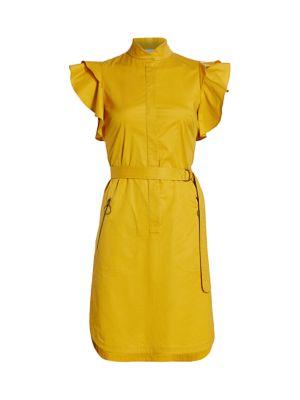 Ruffle Flounce-Sleeve Belted Poplin Dress