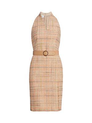 Summer Sleeveless Belted Tweed Dress