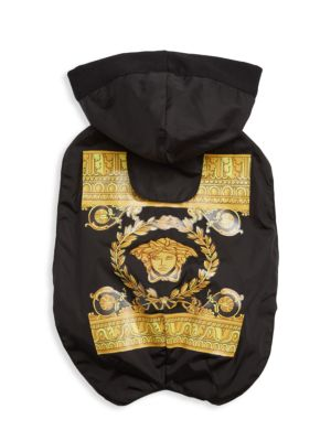 Barocco Logo Waterproof Hooded Dog Jacket