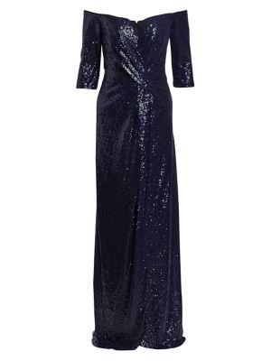 Three-Quarter Sleeve Sequin Column Gown