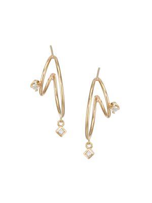 14K Yellow Gold & Diamond Small Double-Wire Hoop Earrings
