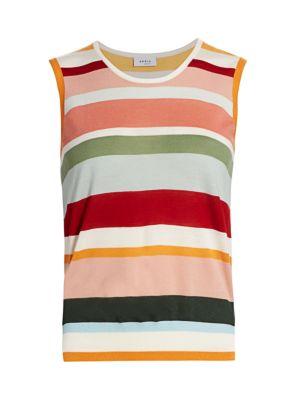 Multicolor Stripe Wool Sleeveless Knit Top