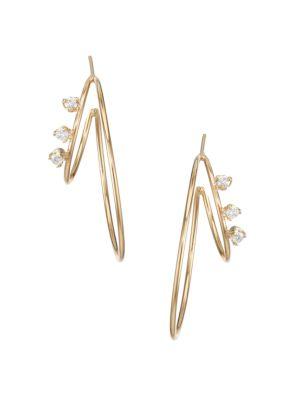 14K Yellow Gold & Diamond Medium Double-Wire Hoop Earrings
