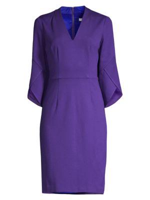 Swish Trumpet-Sleeve Sheath Dress