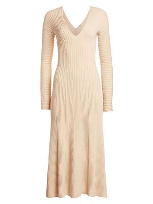 Fawn Rib-Knit V-Neck Midi Dress