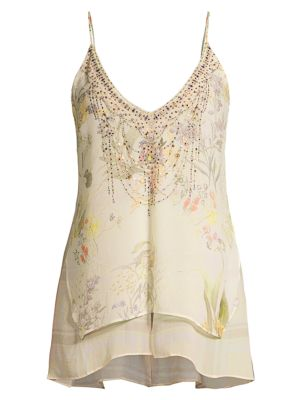 Mother Embellished Multi-Layer Silk Camisole