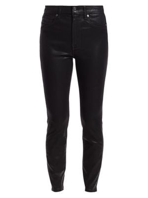High-Rise Ankle Skinny Coated Jeans
