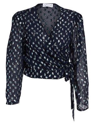 Erica Metallic Leopard Stretch Silk Chiffon Wrap Blouse