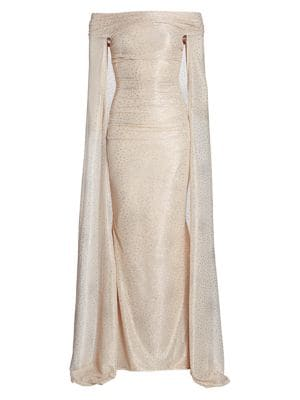 Starburst Metallic Off-The-Shoulder Cape Gown