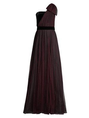 Jenise Polka Dot Asymmetrical Gown