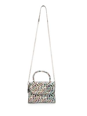 Holographic Leopard Top Handle Satchel
